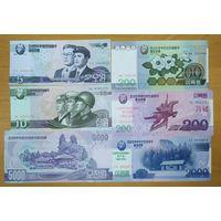 Набор банкнот КНДР - 6 шт - UNC