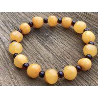 Браслет янтарь балтийский- АНТИЧНЫЙ-медовый и вишневый цвет-гарантия качества натурального камня-новый