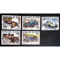Нигер 1981 г. 75-летие автопробега Гран-при Франции. Автоспорт, полная серия из 5 марок #0014-С1P3