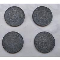Бельгия 5 сантимов, 1916  5-6-22*25