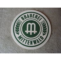 """Подставка под пиво (бирдекель) """"MITTENWALD"""" (Германия).(3)."""