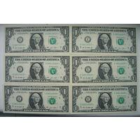 Банкнота 1 доллар США 2013 года пресс 9 шт звезда