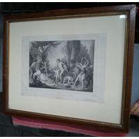 Гравюра, картина Вакх возвращается из Индии. В рамке под стеклом.