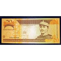 РАСПРОДАЖА С 1 РУБЛЯ!!! Доминиканская Республика 20 песо 2005 год UNC