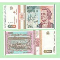 Банкнота Румыния 1000 лей 1993 UNC ПРЕСС