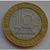 Франция, 10 франков 1989 г.