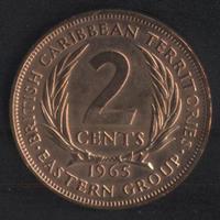 Карибы 2 цент 1965 г. Хороший сохран!!!