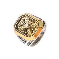 Мужской перстень с крестом в старинном стиле и камнем из горного хрусталя. распродажа