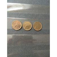 Россия 3 монеты по 10 копеек 1999сп 2000м 2001сп штемпельный блеск