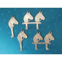 Набор крючков латунь Конь Германия 4 штуки, высота 12.5 см.