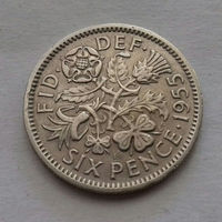 6 пенсов, Великобритания 1955 г.