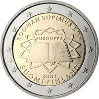 2 евро 2007 Финляндия 50-летие подписания Римского договора UNC из ролла