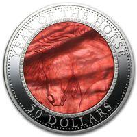 """Острова Кука 50 долларов 2014г. """"Год Лошади. Перламутр"""". Монета в капсуле; подарочном футляре - подставке; номерной сертификат; коробка. СЕРЕБРО 155,50гр.(5 oz)."""