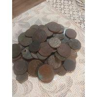 Уставшие монеты РИА и др. Около 75 шт.
