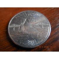 25 центов, США, 2001 г., Род Айленд