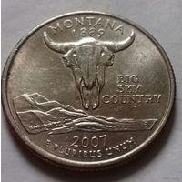 25 центов, квотер США, штат Монтана, P