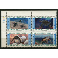 Фауна. Морские черепахи. Маршалловы острова. 1990. Полная серия 4 марки. Чистые
