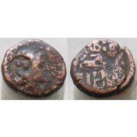 Ольвия Дихалк 160-150 гг до н.э. Описание аверса:Голова Артемиды вправо. Надчеканка - голова Афины. Описание реверса:Колчан