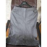 Стильная юбка джинс Модно-серого цвета р.46
