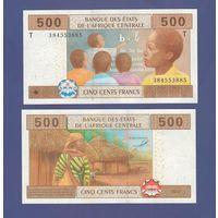 Банкнота Конго 500 центральноафриканских франков 2002 UNC ПРЕСС литера Т