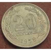 5052:  20 сентаво 1958 Аргентина КМ# 55 никель