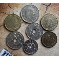 Дания. 7 монет 1968-1999 г.