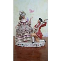 Фарфоровая статуэтка Кавалер с мандалиной и Дама, старая Германия, Грефенталь