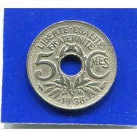 Франция 5 сантимов 1938 , Точки в Дате , Уменьшенный Вес
