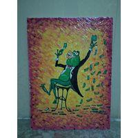 Картина на холсте маслом 40 на 30 см, Денежная лягушка