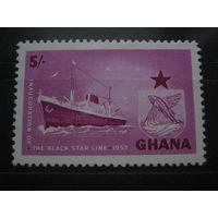 Марка - фауна, рыбы, корабли, флот, транспорт, Гана