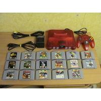 Nintendo 64 Watermelon Red PAL + 17 картриджей