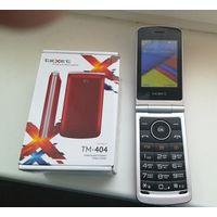 """TeXet TM-404 очень удобная раскладушка, экран 2.8"""", 2 сим, карта памяти, хорошая батарея, состояние нового телефона, по работе без проблем, цвет красный, коробка, гарантия 1 месяц."""