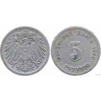 YS: Германия, Рейх, 5 пфеннигов 1890F, KM# 11 (2)