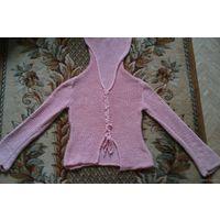 Стильная розовая вязаная кофта