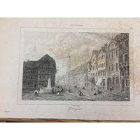 Гравюра. Говорят редчайшая редкость. Геттинген, Нижняя Саксония, Германия, прекрасный вид на город, 1838 год.