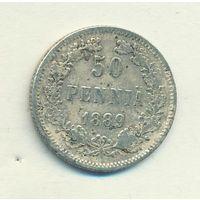 50 пенни 1889 год L _состояние F/VF