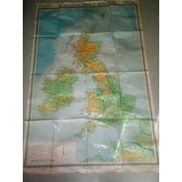 Физическая карта Великобритании и  Ирландии