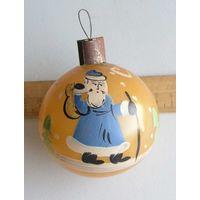 Игрушка елочная ШАР довоенный ( толстое стекло ) ручная роспись Дед Мороз