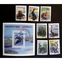 Танзания 1991 г. Динозавры. Фауна, полная серия из 7 марок + Блок #0138-Ф1