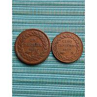 Монако 1 десим 1838 г., 5 сентим 1837 г., набор монет 2 шт.