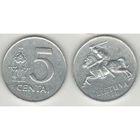 Литва _km87 5 центов 1991 год (h03)