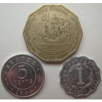 Белиз 1 доллар 2000 г., 5 центов 1994 г., 1 цент 2002 г. Цена за все (u)