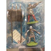 Солдатики НЕоловянные(военно-историческая миниатюра) средневековая пушка с двумя воинами в блистере (набор)