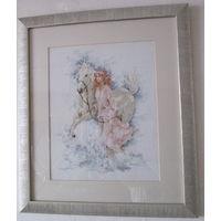 Вышитая картина ''Девушка с лошадью''