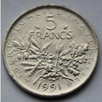 Франция, 5 франков 1991 г.
