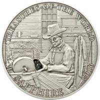 """Палау 5 долларов 2010г. """"Сокровища мира: Сапфир"""". Монета в капсуле; сертификат; подарочный бокс; коробка. СЕРЕБРО 25гр."""