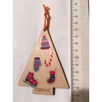 Елочная игрушка украшение на елку Елка деревянная