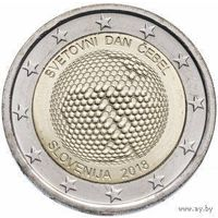 2 евро 2018 Словения Всемирный день пчел UNC из ролла