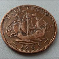 1/2 пенни Великобритания 1963 г.в. KM# 896, 1/2 PENNY, из коллекции