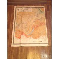 Советская карта Байкало-Амурской железнодорожной магистрали.Размер 110х81.1976г.